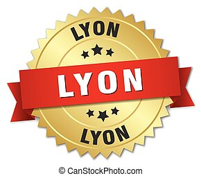 Lyon round golden badge with red ribbon
