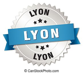 Lyon round silver badge with blue ribbon