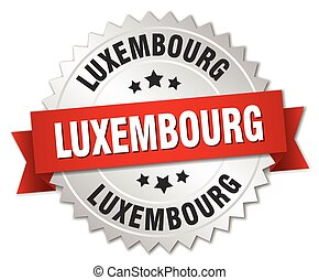 Luxembourg round silver badge with red ribbon