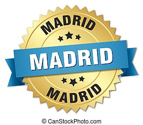 Madrid round golden badge with blue ribbon