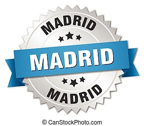 Madrid round silver badge with blue ribbon