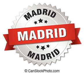 Madrid, rond, Ruban, écusson, argent, rouges