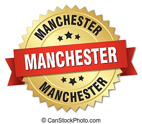 Manchester round golden badge with red ribbon
