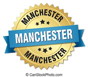 Manchester round golden badge with blue ribbon