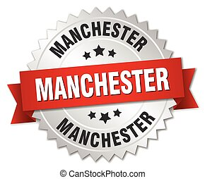 Manchester round silver badge with red ribbon