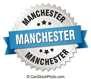 Manchester round silver badge with blue ribbon