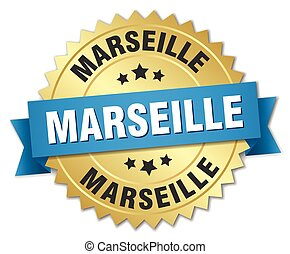 Marseille round golden badge with blue ribbon