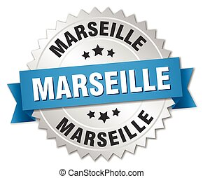 Marseille round silver badge with blue ribbon