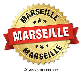 Marseille round golden badge with red ribbon