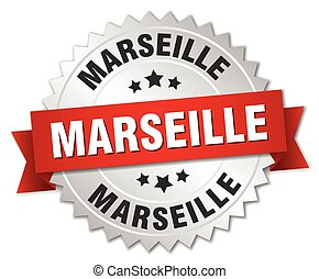 Marseille  round silver badge with red ribbon