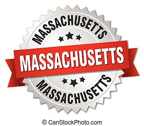 Massachusetts round silver badge with red ribbon