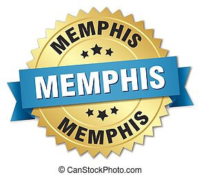 Memphis round golden badge with blue ribbon