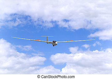 Glider in flight - Modern glider in flight coming into land....