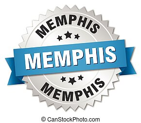 Memphis round silver badge with blue ribbon