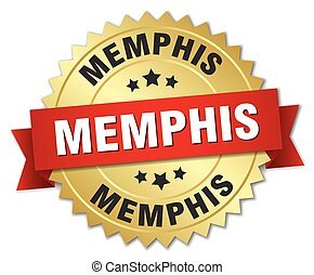 Memphis round golden badge with red ribbon