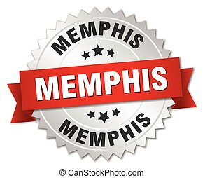 Memphis round silver badge with red ribbon