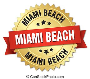 Miami Beach round golden badge with red ribbon