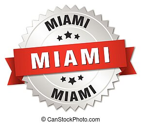 Miami round silver badge with red ribbon - Miami round...