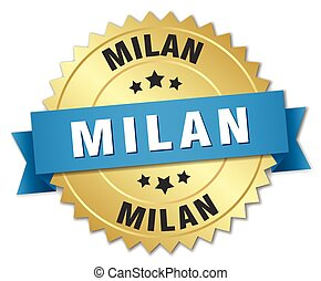 Milan round golden badge with blue ribbon