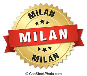 Milan round golden badge with red ribbon