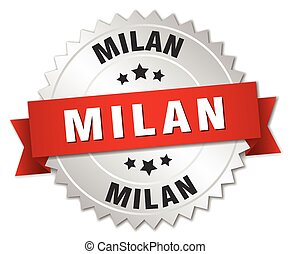 Milan round silver badge with red ribbon - Milan round...