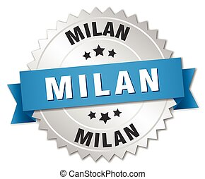 Milan round silver badge with blue ribbon