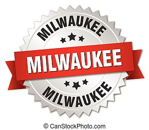 Milwaukee round silver badge with red ribbon