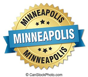 Minneapolis round golden badge with blue ribbon