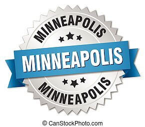 Minneapolis round silver badge with blue ribbon
