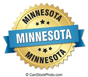 Minnesota round golden badge with blue ribbon