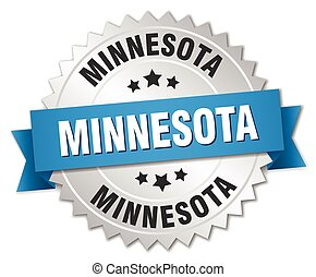 Minnesota round silver badge with blue ribbon