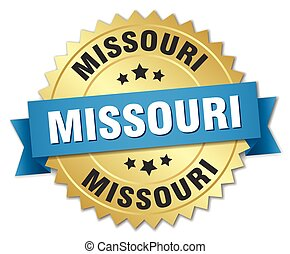Missouri round golden badge with blue ribbon