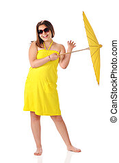 Sunshine Girl - A barfoot young teen happily twirling a...