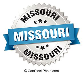 Missouri round silver badge with blue ribbon