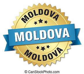Moldova round golden badge with blue ribbon
