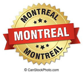 Montreal round golden badge with red ribbon