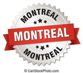 Montreal  round silver badge with red ribbon