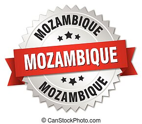 Mozambique round silver badge with red ribbon