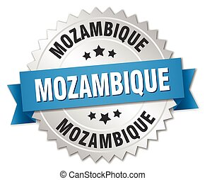 Mozambique round silver badge with blue ribbon