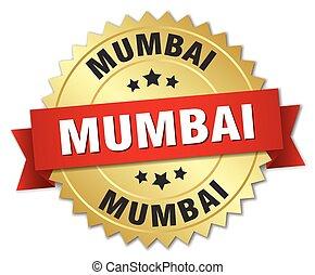 Mumbai round golden badge with red ribbon