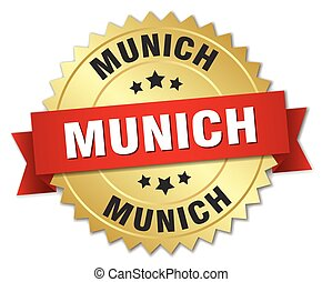 Munich round golden badge with red ribbon