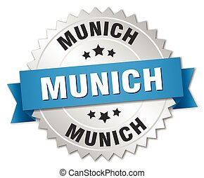 Munich round silver badge with blue ribbon