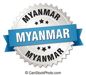 Myanmar round silver badge with blue ribbon
