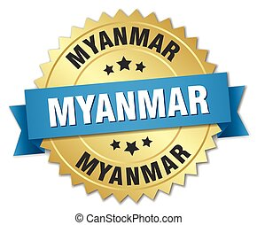 Myanmar round golden badge with blue ribbon