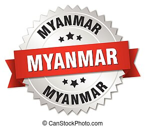 Myanmar round silver badge with red ribbon