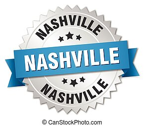 Nashville round silver badge with blue ribbon