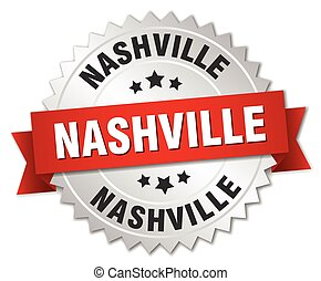 Nashville round silver badge with red ribbon