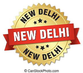 New Delhi round golden badge with red ribbon