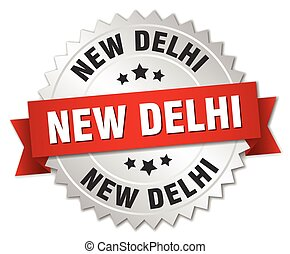 New Delhi  round silver badge with red ribbon