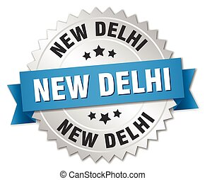 New Delhi round silver badge with blue ribbon